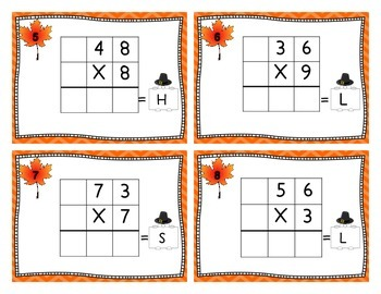Multiplication of 2 x 1 Digit Numbers - Task Cards with Riddle Code Answers