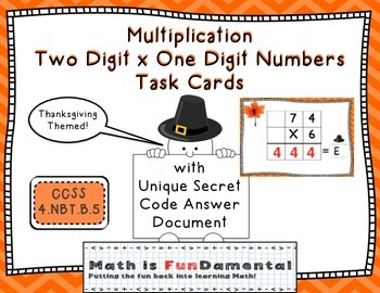 Multiplication of 2 x 1 Digit Numbers - Task Cards with Ri