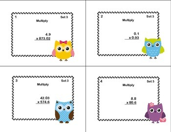 Multiplication of Decimals-Grade 6- Math Task Cards CCSS.6.NS.B.3