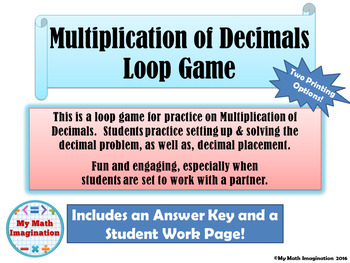 Multiplication of Decimals Loop Game - up to 3 digit by 3 digit