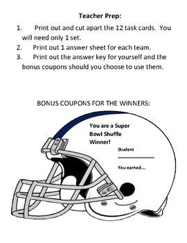 Multiplication of Decimals Super Bowl Shuffle