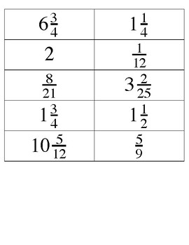 Multiplication of Fraction Matching Activity