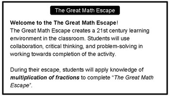 The Great Math Escape - Multiplication of Fractions