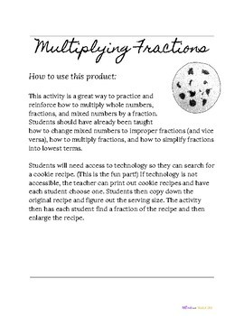 Multiplication of Fractions- Cookie Recipe