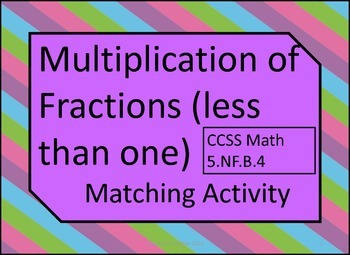 Multiplication of Fractions Less Than One Matching Activity