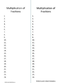 Multiplication of Fractions Task Cards