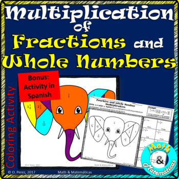 Multiplication of Fractions and Whole Numbers-Bonus in Spanish