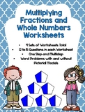 Multiplication of Fractions and Whole Numbers Worksheets