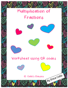 Multiplication of Fractions using QR codes-Valentine's Day theme