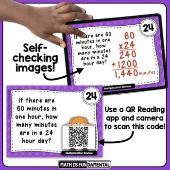 Multiplication of Greater Numbers Review with Self-checking QR Code