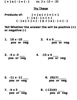 Multiplication of Integers Notes and Assignments