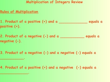 Multiplication of Integers Review and Practice Problems on Smartboard