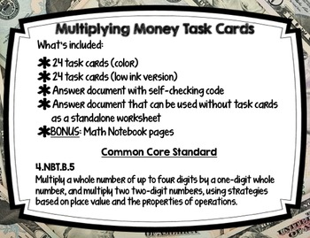 Multiplication of Money Task Cards with Self-checking Coded Message