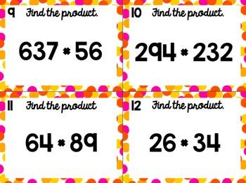 Multiplication of Multi-Digit Numbers Task Cards