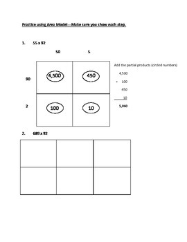 Multiplication of Multiple Digit Whole Numbers using Area Models