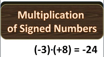 Multiplication of Signed Numbers PowerPoint Presentation F