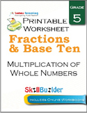 Multiplication of Whole Numbers Printable Worksheet, Grade 5
