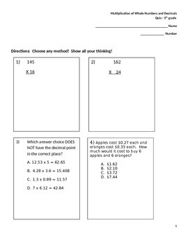 Multiplication of Whole Numbers and Decimal Numbers 5th Grade