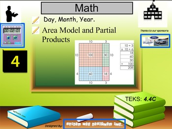 Multiplication of two digit numbers using the area model and partial products