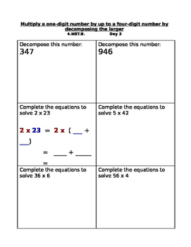 Multiplication of whole numbers 6 day plan, worksheets, & assessment  4.NBT.B.5