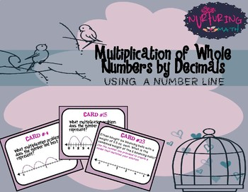 Multiplication of whole numbers by decimals using number lines.