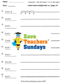 Multiplication on a Number Line Worksheets (4 levels of difficulty)