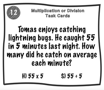 Multiplication or Division Riddle Task Cards