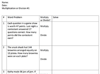 Multiplication or Division Word Problems 1