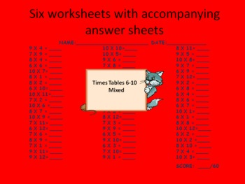 Multiplication or Times Tables Dominoes and Worksheets