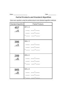 Multiplication partial products- area model- standard algorithm