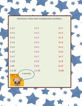 Multiplication practice 1-3