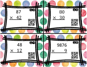 Multiplication practice with QR codes