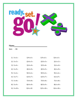 Multiplication problems for 3's through 6's