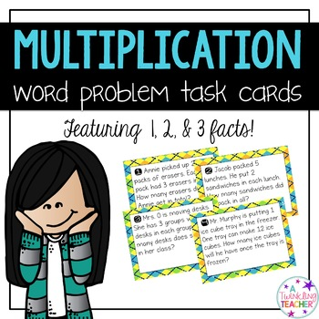 Multiplication scoot and task card word problems in 1, 2,