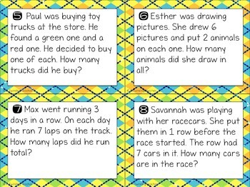 Multiplication scoot and task card word problems in 1, 2, & 3 fact families!