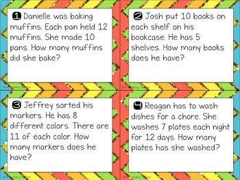 Multiplication scoot and task card word problems in 10, 11, & 12 fact families!