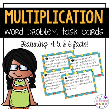 Multiplication scoot and task card word problems in 4, 5, & 6 fact families!