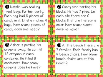 Multiplication scoot and task card word problems in 7, 8, & 9 fact families!