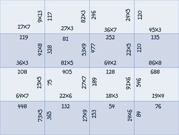 Multiplication {square puzzles}