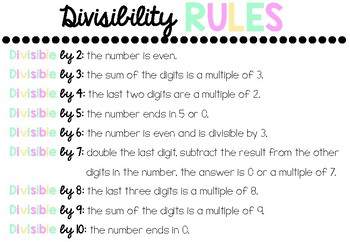 Multiplication strategies and divisibility rules