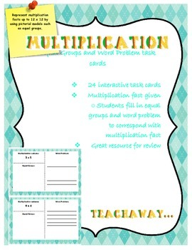 Multiplication task cards: equal groups and problem solving