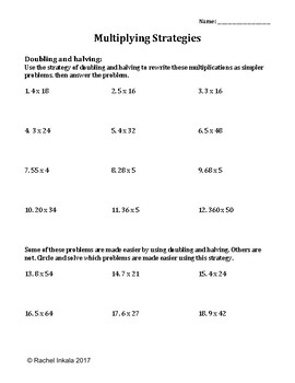Multiplication Using Doubling And Halving Worksheet By Rachel Inkala Print Out For Pages Of Multiplication 12s Multiplication Using Doubling And Halving Worksheet