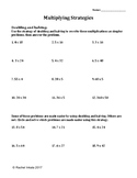 Multiplication using Doubling and Halving Worksheet