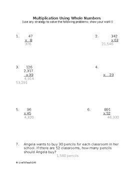 Multiplication using Whole Numbers