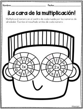 Multiplication wheels Spanish worksheets - Ruedas de multiplicar