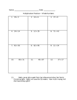 Multiplication whole number 2 digit by 2 digit