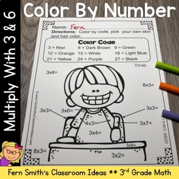 Color By Numbers Multiplication with 3 and 6 Color By Code Printables