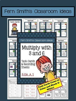3rd Grade Go Math 4.3 Multiply with 3 & 6 Task Cards Centers Color By Numbers