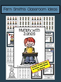 Multiplication with 3 and 6 Task Cards Centers and Color By Numbers Bundle