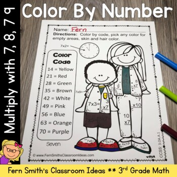 3rd Grade Go Math Chapter Four Multiply with 7 8 and 9 Color By Numbers